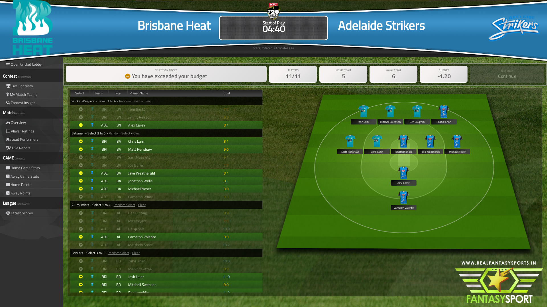 Brisbane Heat Vs Adelaide Strikers Fantasy Cricket Team