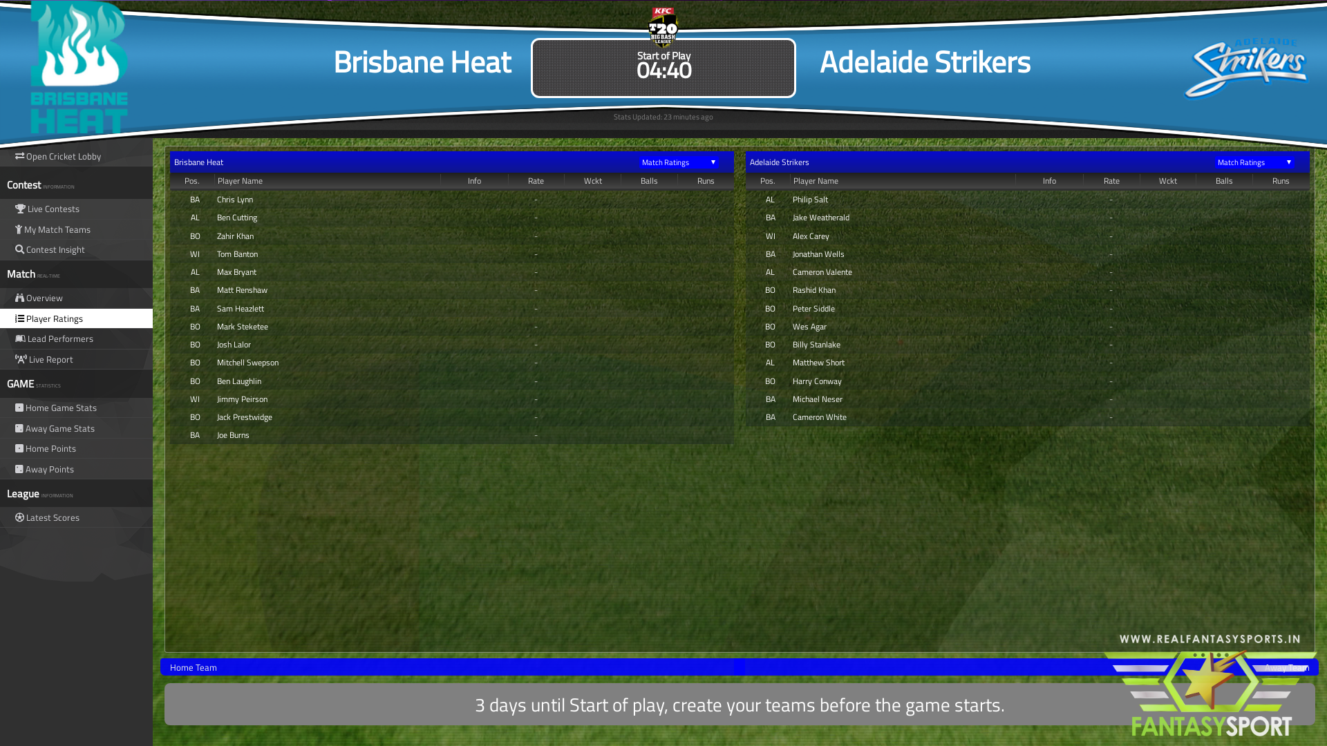 Fantasy Cricket Brisbane Heat Vs Adelaide Strikers