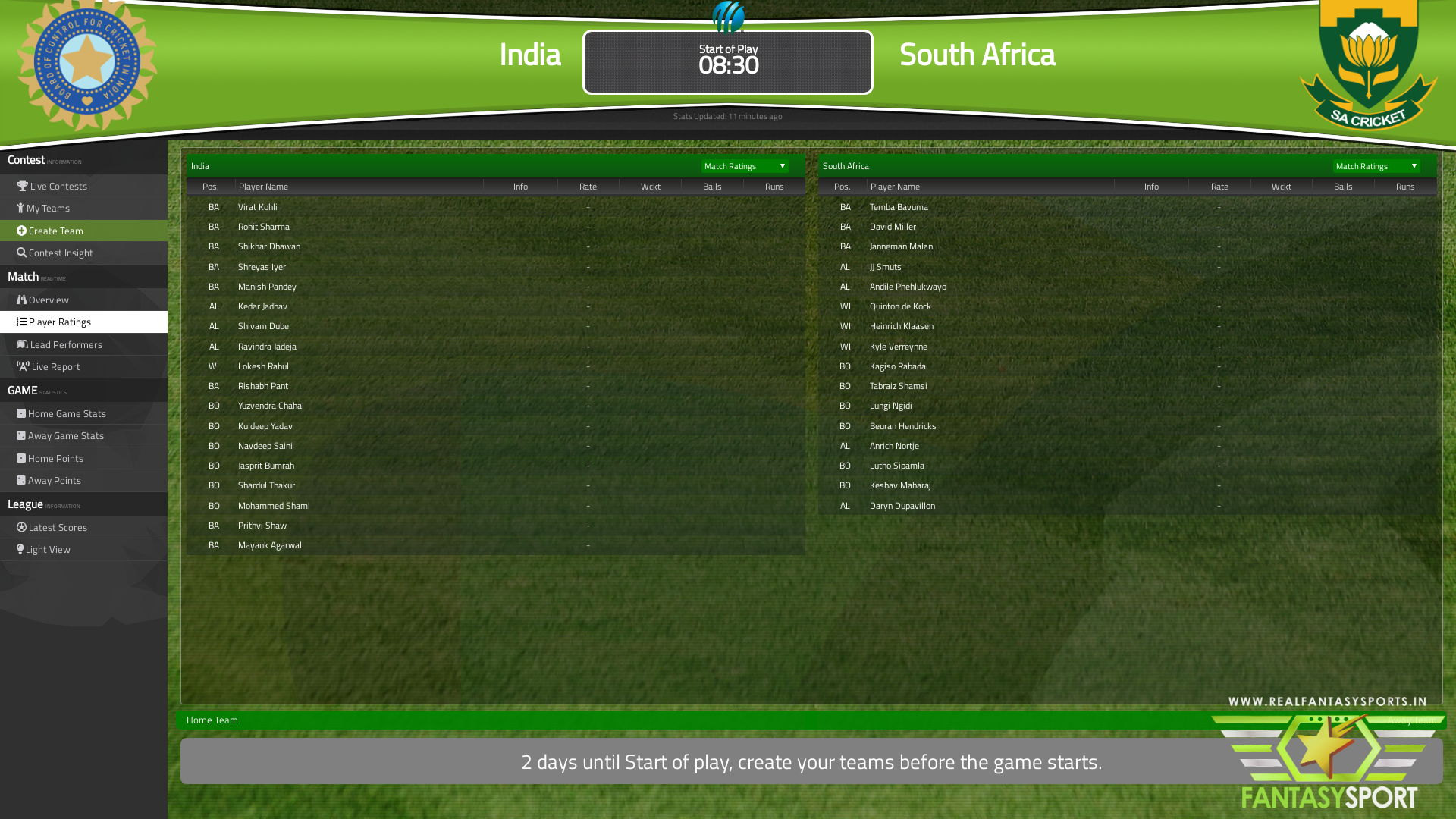 Fantasy Cricket India Vs South Africa Thursday 12th March 2020