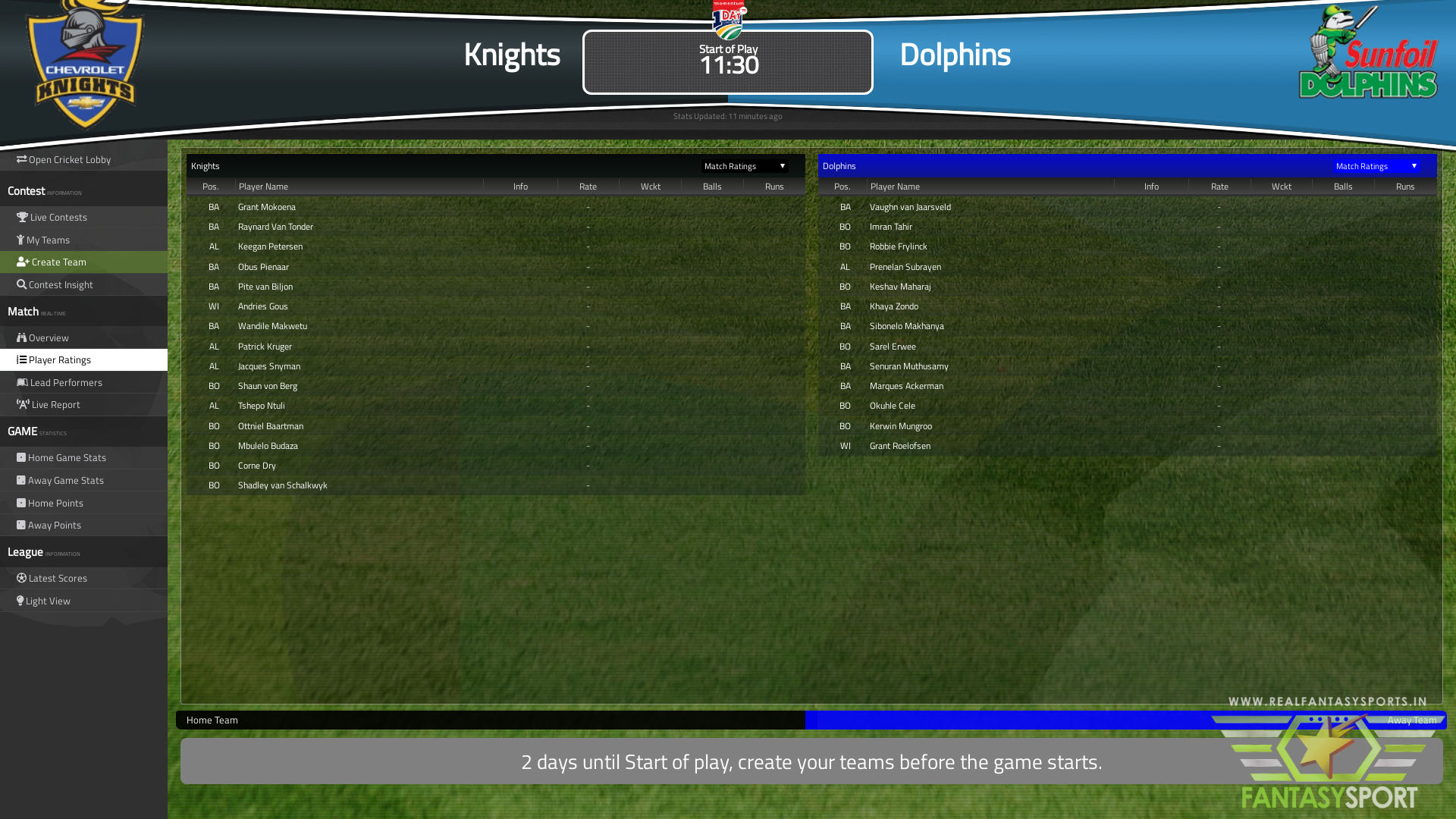 Fantasy Cricket Knights Vs Dolphins