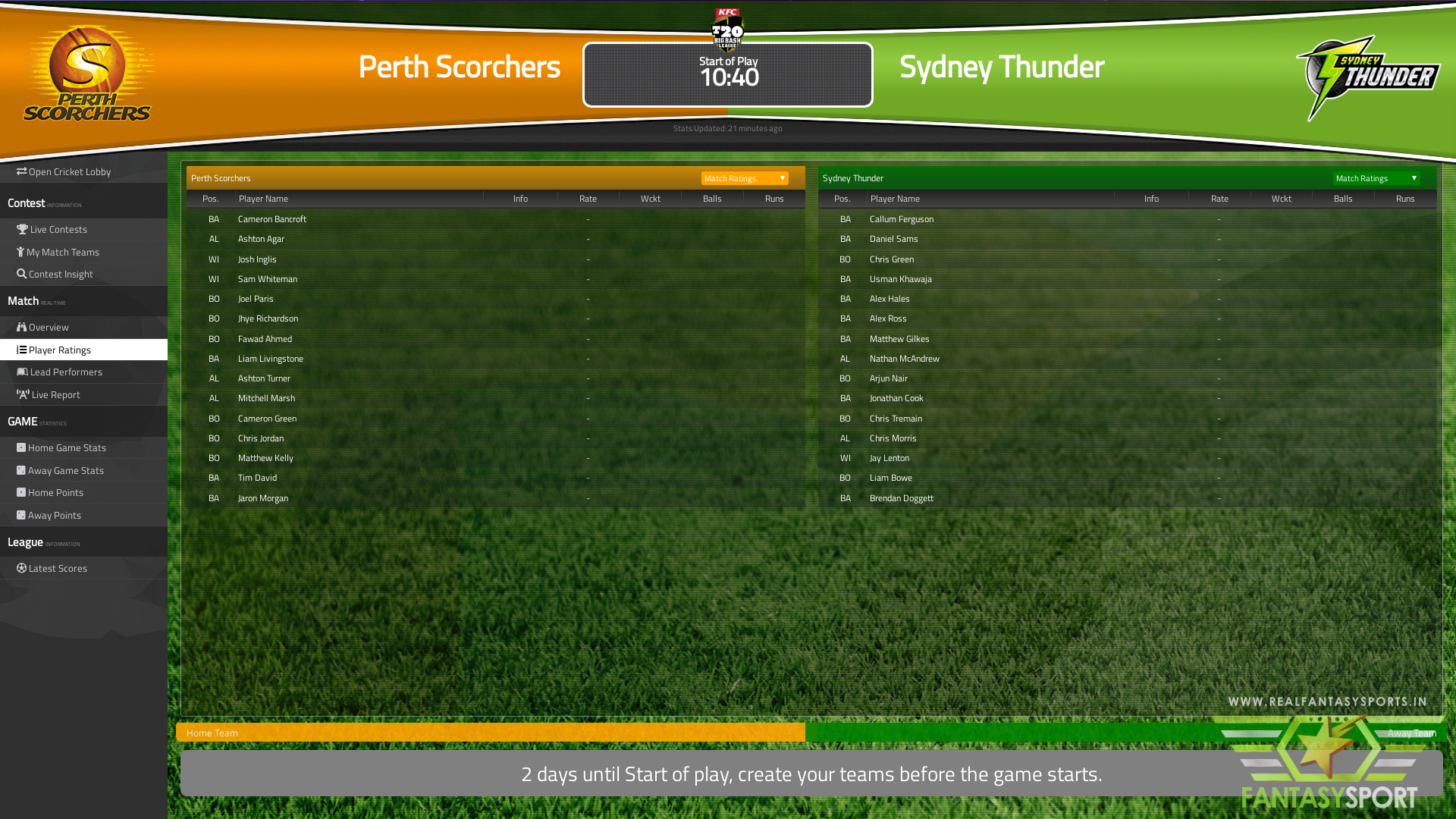Perth Scorchers vs Sydney Thunder match preview (20th January 2020)