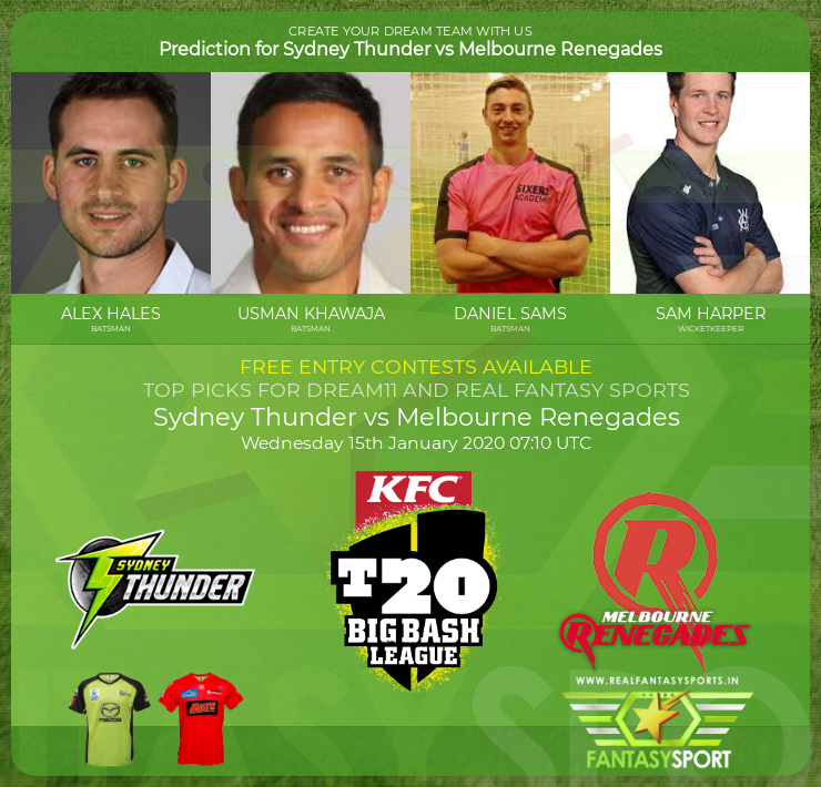 Sydney Thunder vs Melbourne Renegades dream 11 team prediction(15th January 2020)