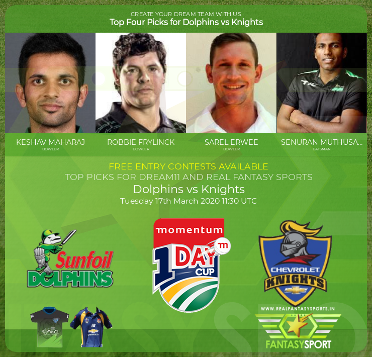 Dolphins vs Knights dream11 match prediction (17th March 2020)