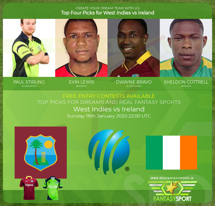 West Indies vs Ireland dream11 match prediction (19th January 2020)