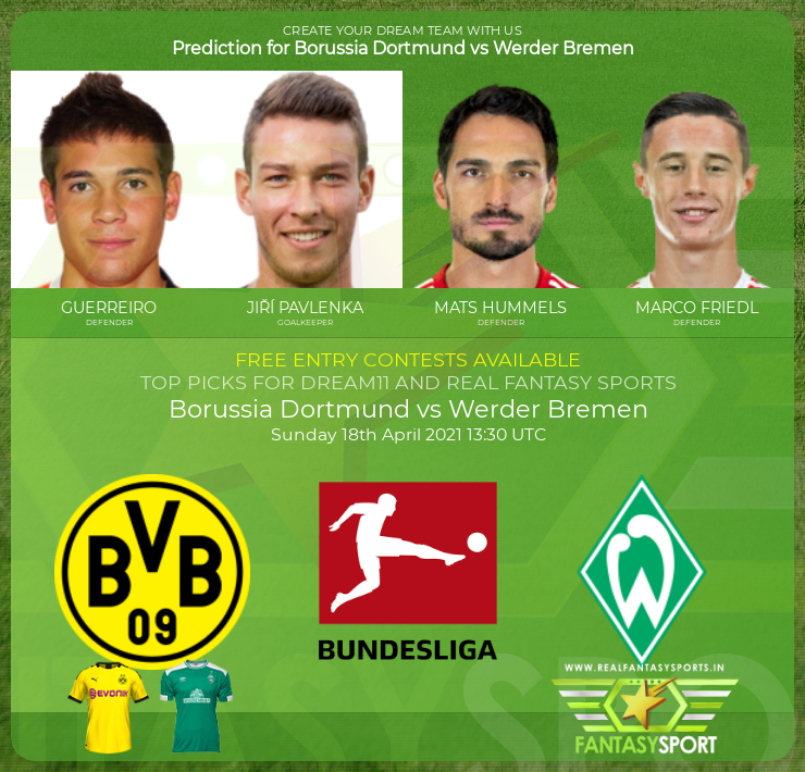 Borussia Dortmund vs Werder Bremen dream11 prediction (18th April 2021)