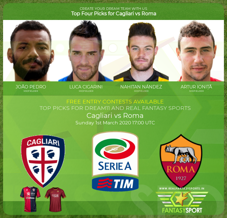 Cagliari vs Roma dream team prediction (1st March 2020)