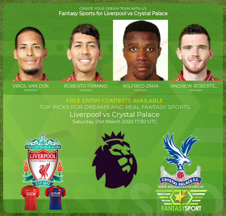 Liverpool vs Crystal Palace prediction (21st March 2020)