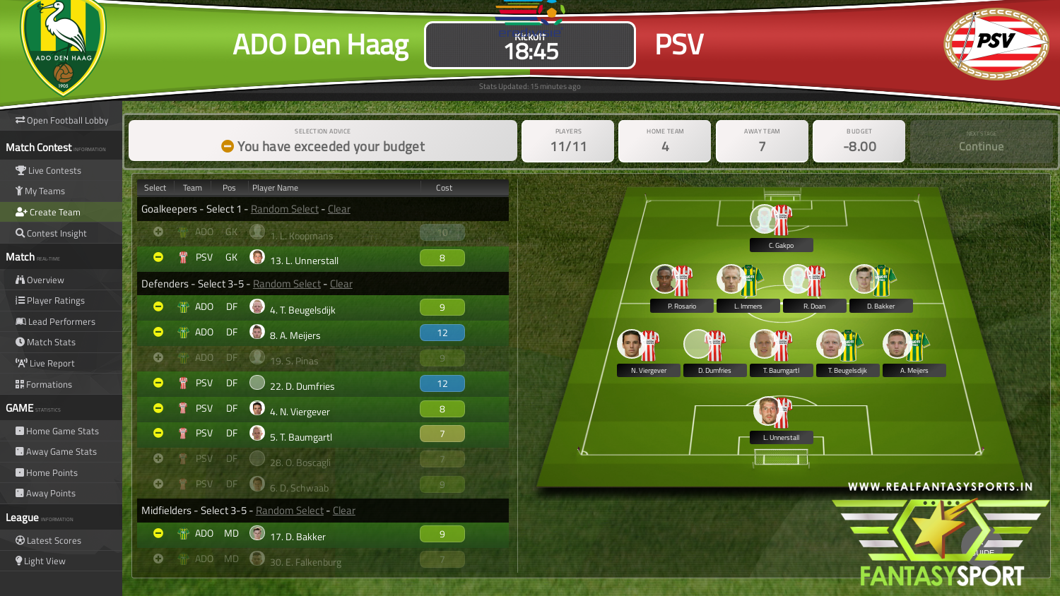 Fantasy Football Ado Den Haag Vs Psv Saturday 15th February 2020