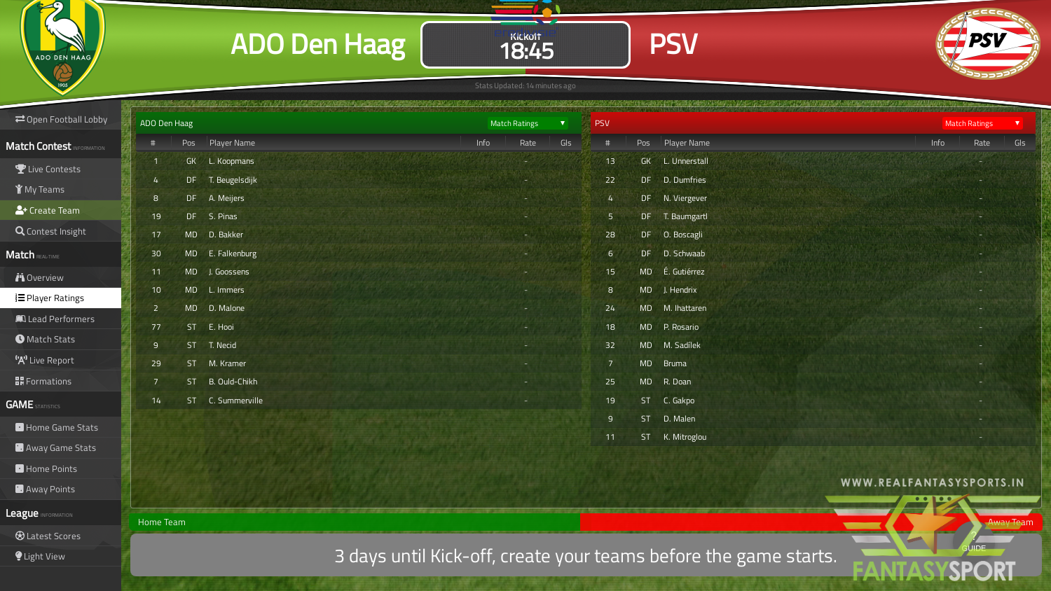 Fantasy Football Ado Den Haag Vs Psv