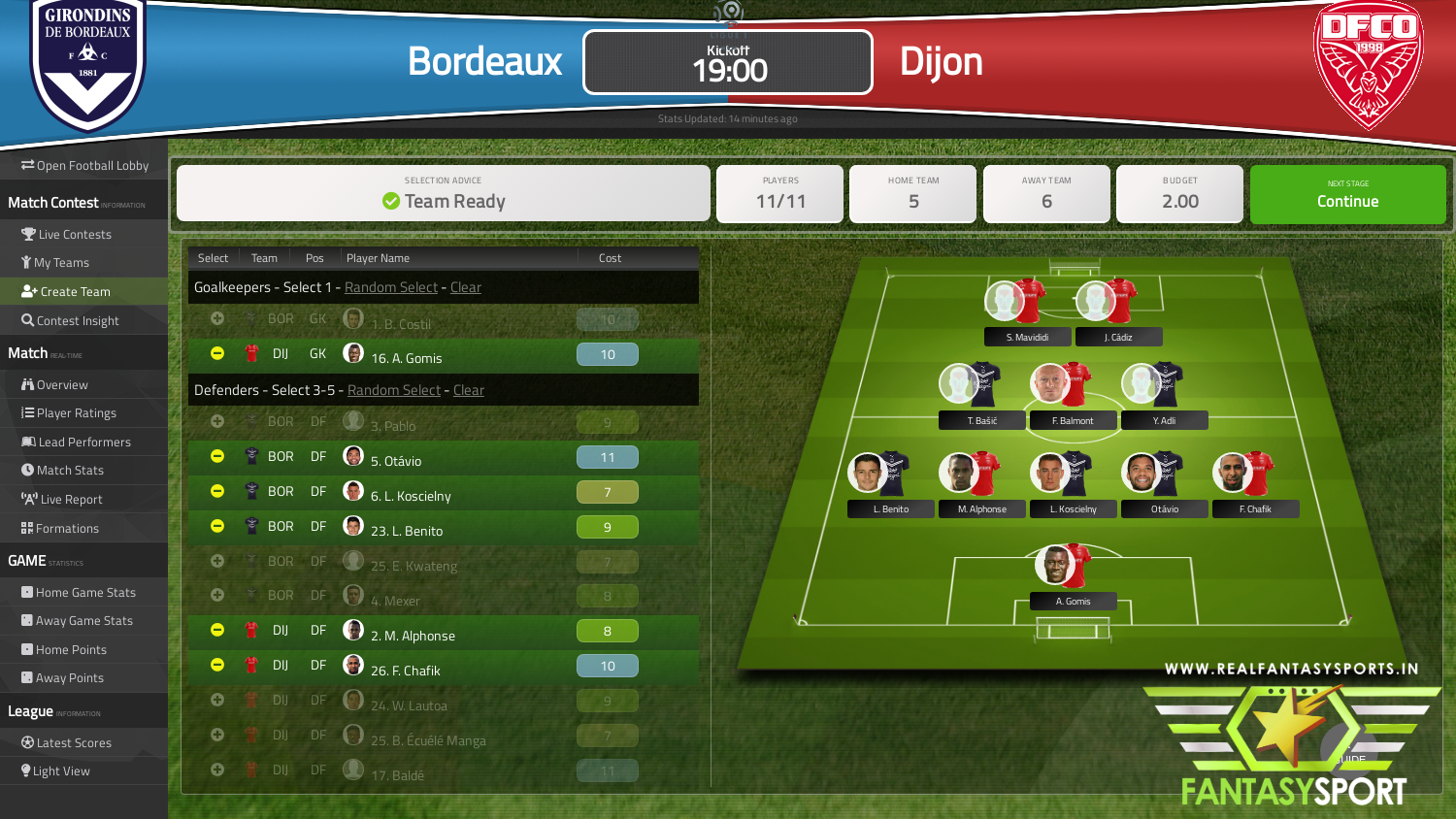 Fantasy Football Bordeaux Vs Dijon