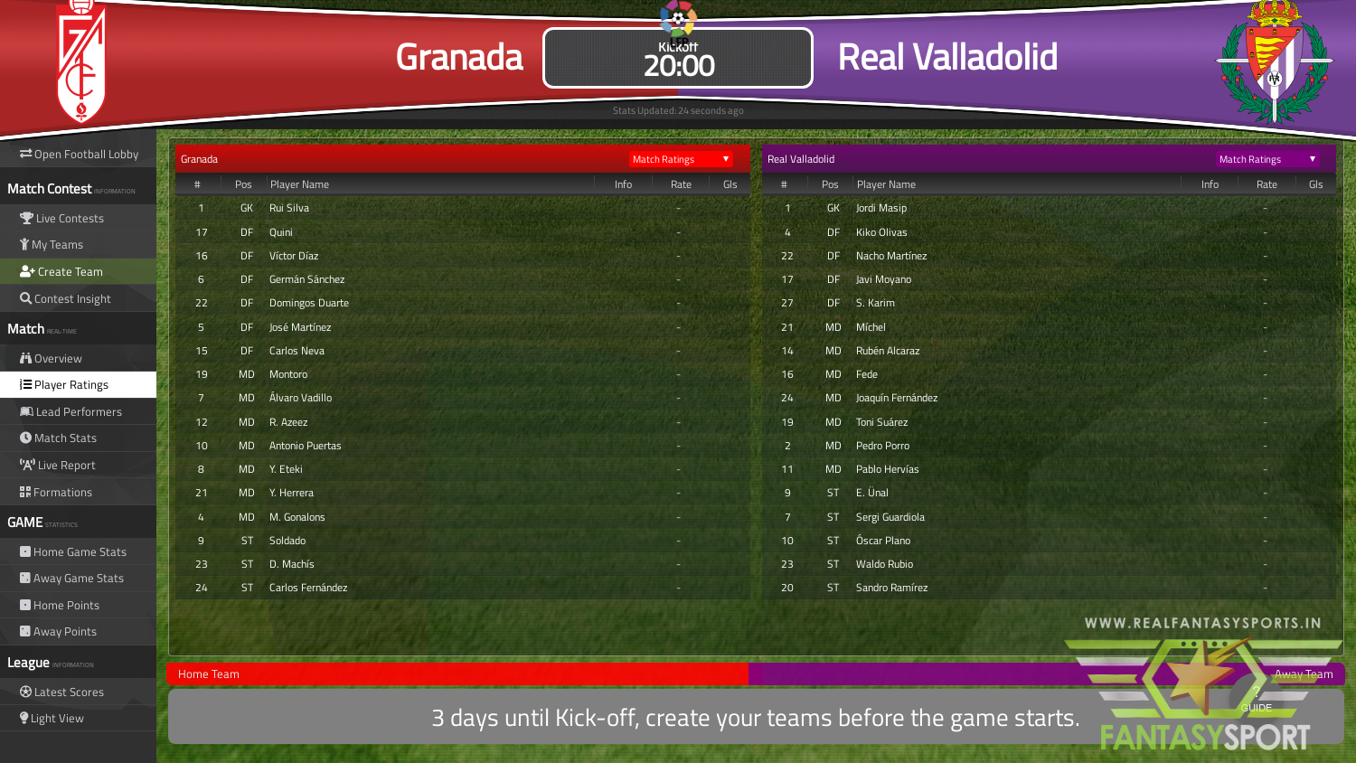 Fantasy Football Granada Vs Real Valladolid 15th February 2020