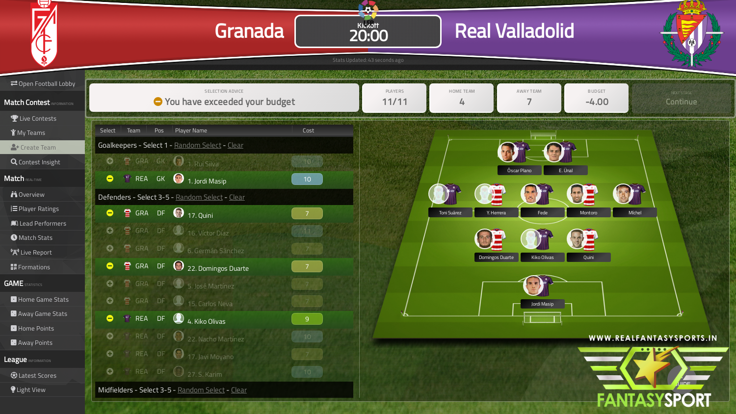 Fantasy Football Granada Vs Real Valladolid