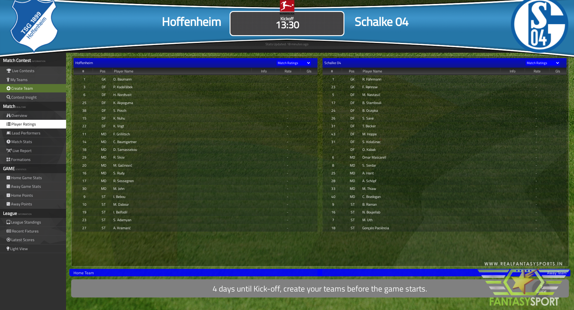 Fantasy Football Hoffenheim Vs Schalke 04 Saturday 8th May 2021