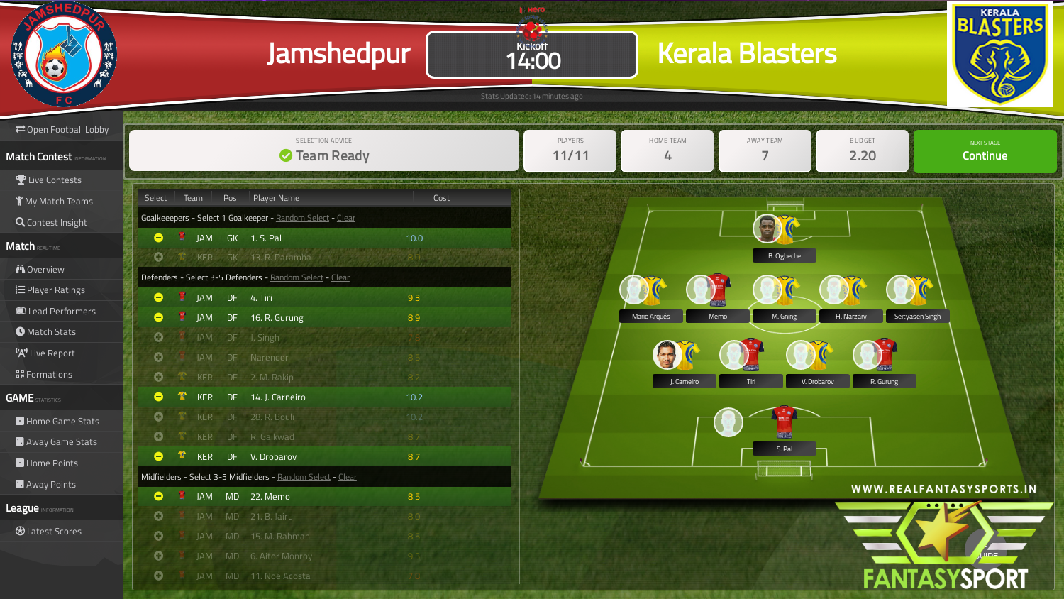 Fantasy Football Jamshedpur Vs Kerala Blasters Sunday 19th January 2020