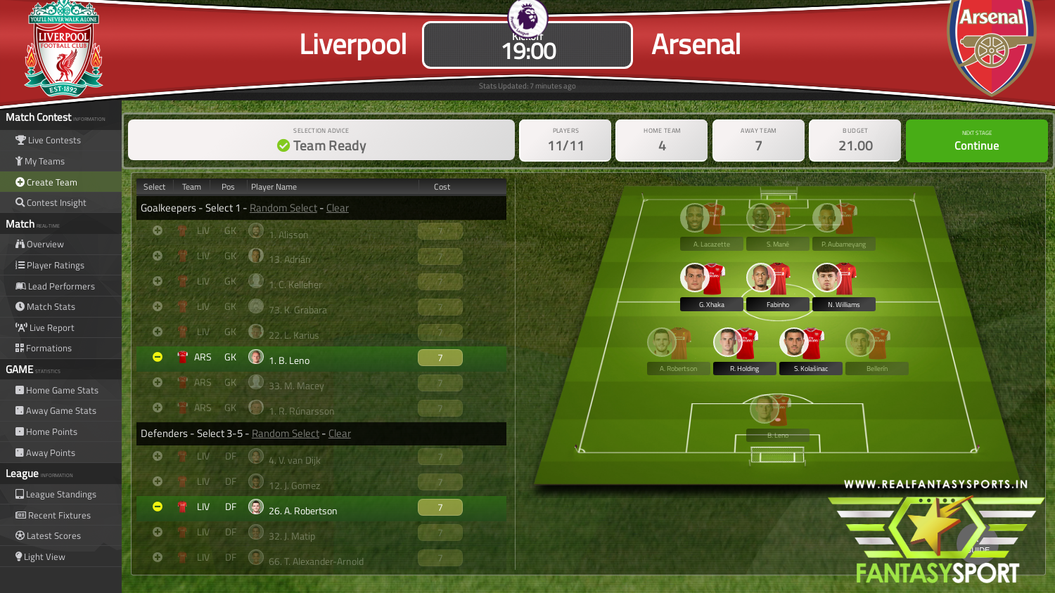 Liverpool vs Arsenal dream11 prediction (28th September 2020)