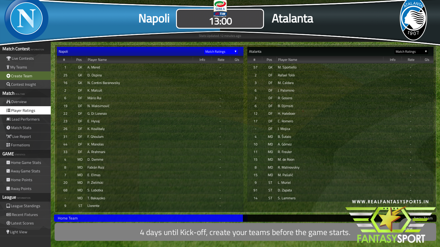 Fantasy Football Napoli Vs Atalanta 17th October 2020