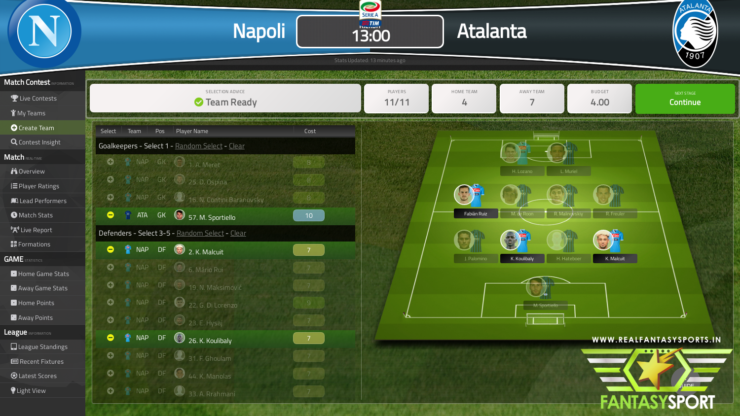 Fantasy Football Napoli Vs Atalanta