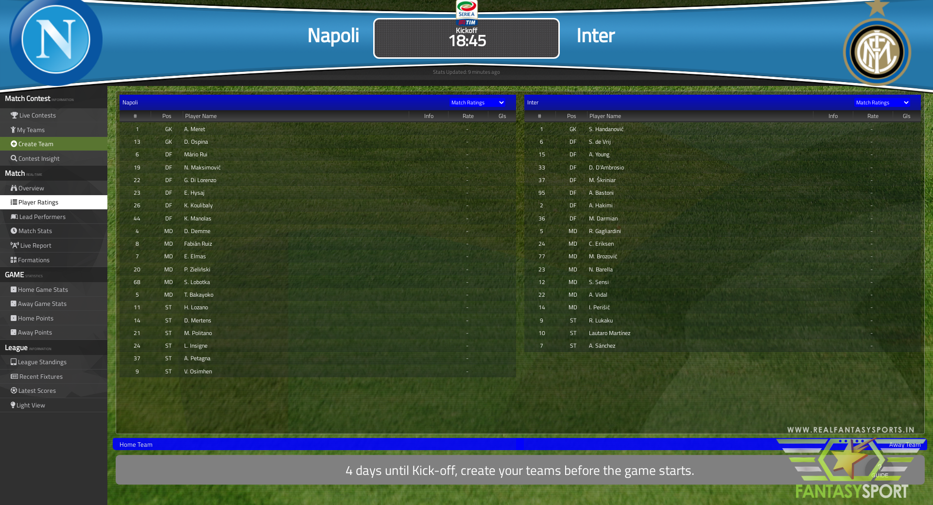 Fantasy Football Napoli Vs Inter 18th April 2021