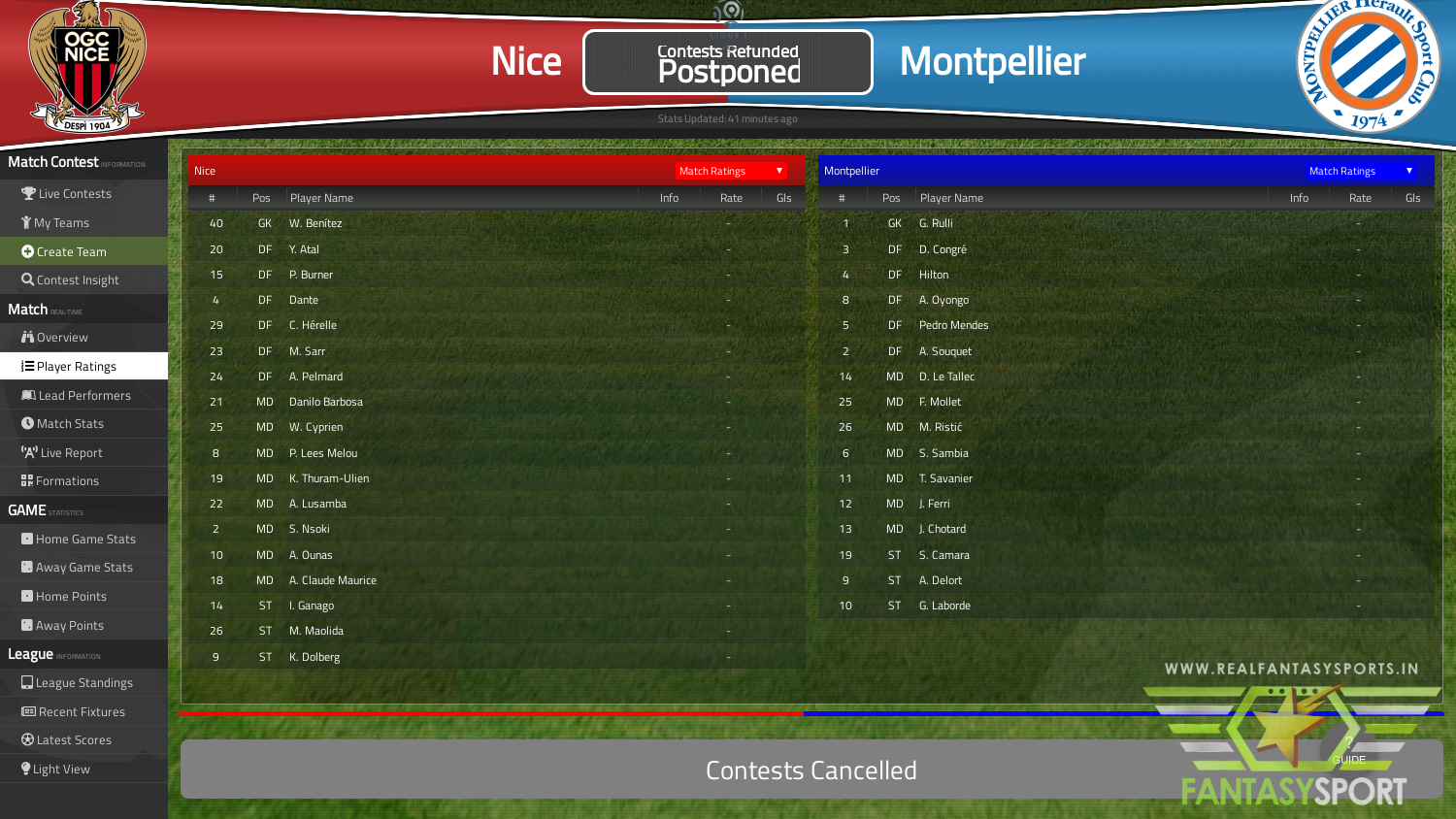 Fantasy Football Nice Vs Montpellier 21st March 2020