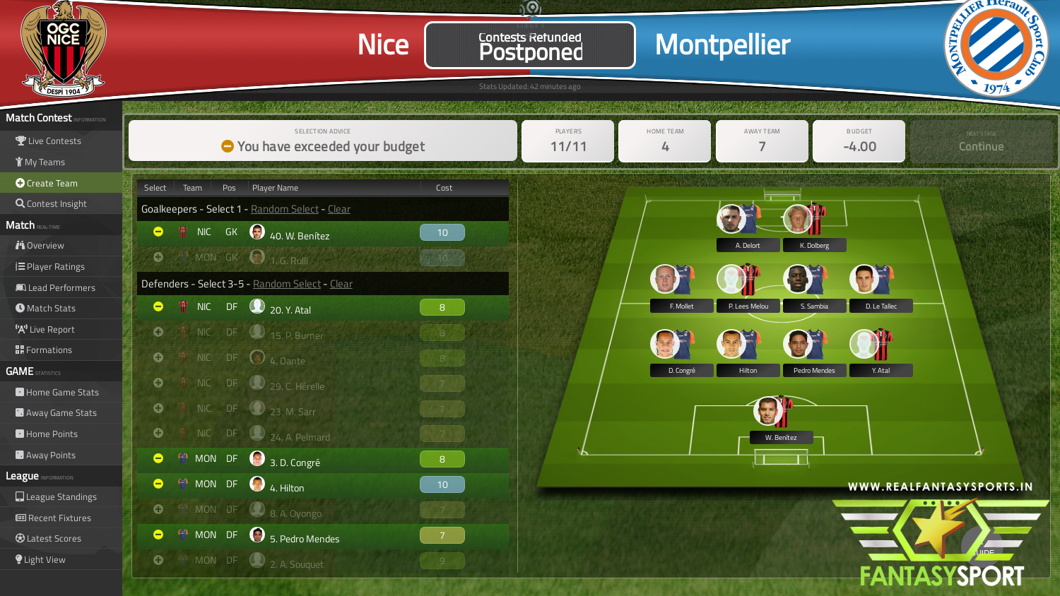 Fantasy Football Nice Vs Montpellier