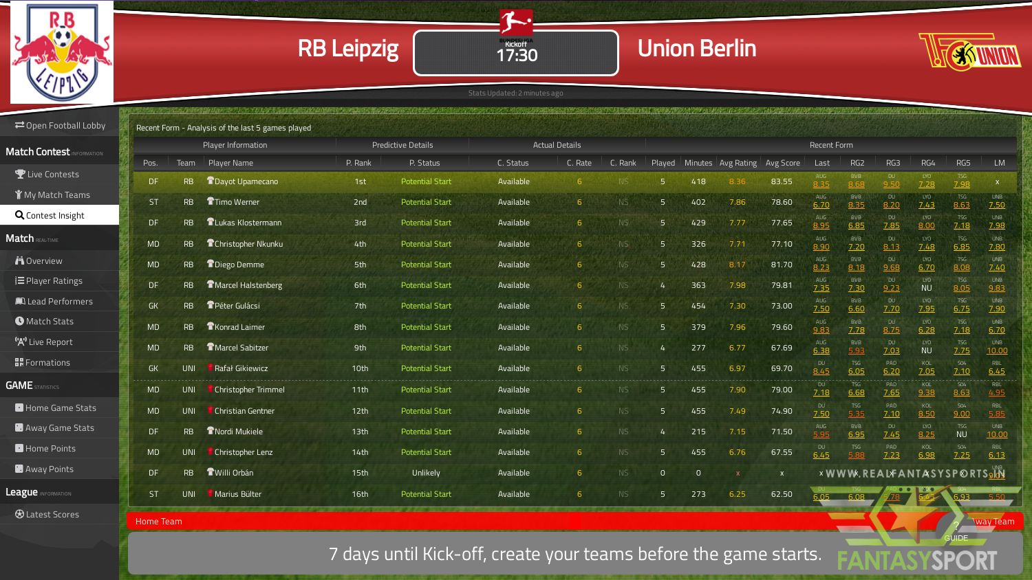 Fantasy Football Rb Leipzig Vs Union Berlin Saturday 18th January 2020
