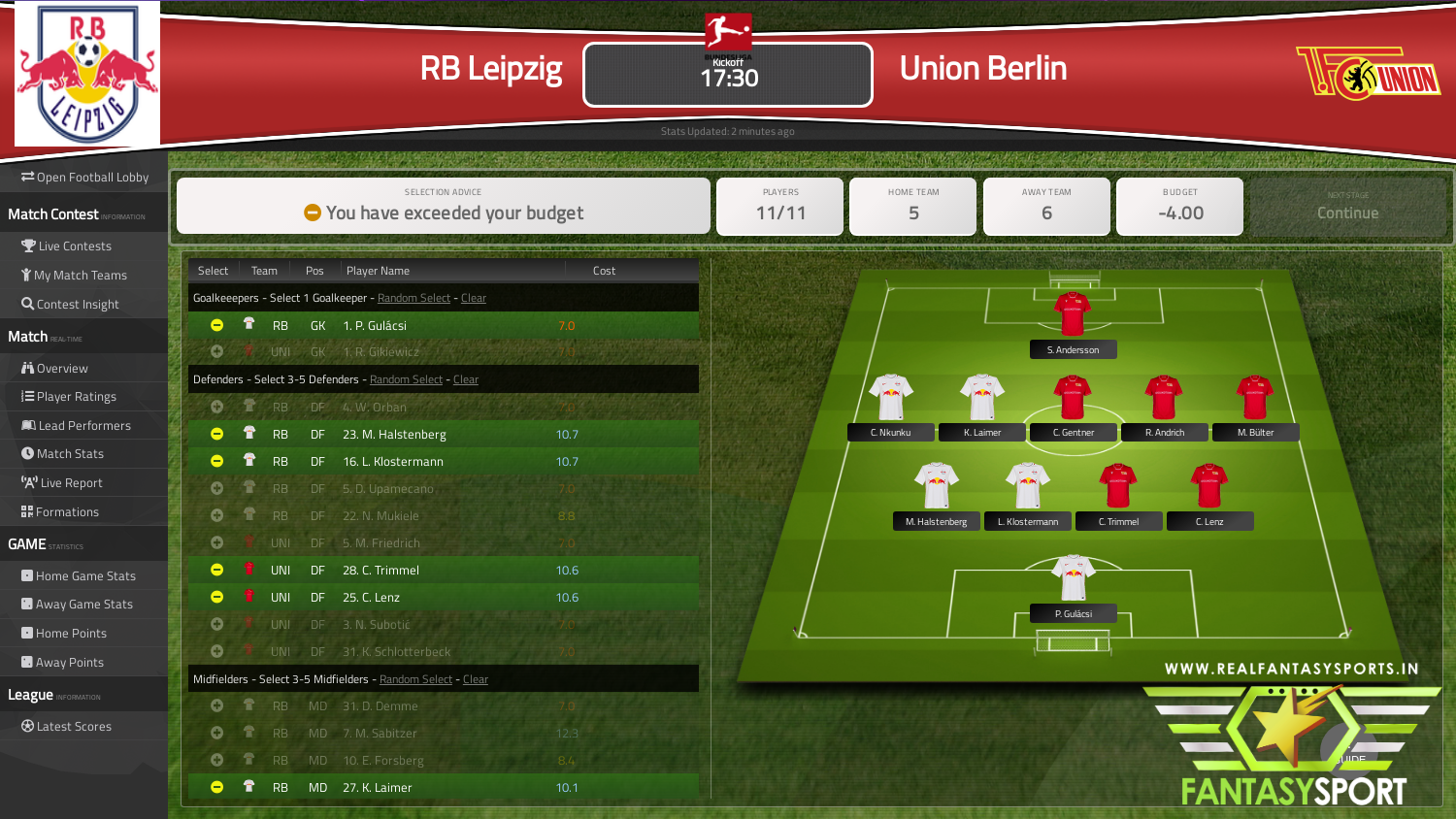 Fantasy Football Rb Leipzig Vs Union Berlin