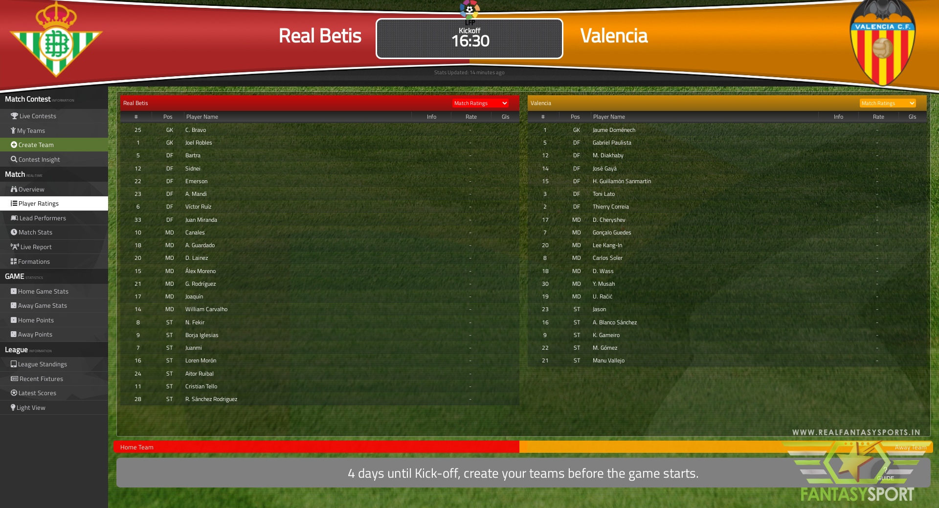 Fantasy Football Real Betis Vs Valencia Sunday 18th April 2021