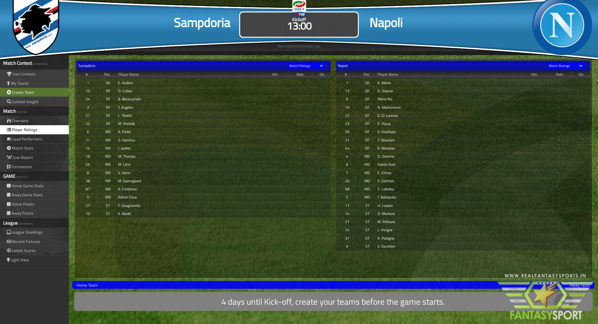 Fantasy Football Sampdoria Vs Napoli