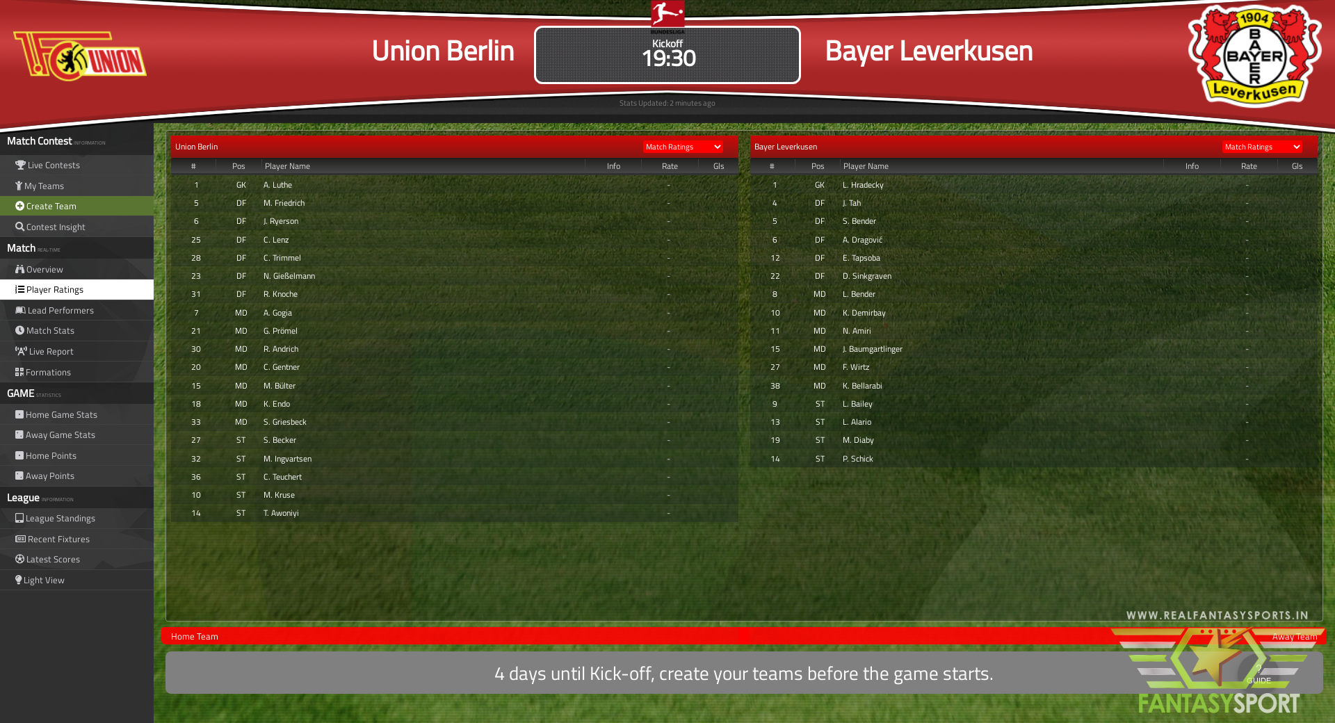 Fantasy Football Union Berlin Vs Bayer Leverkusen Friday 15th January 2021
