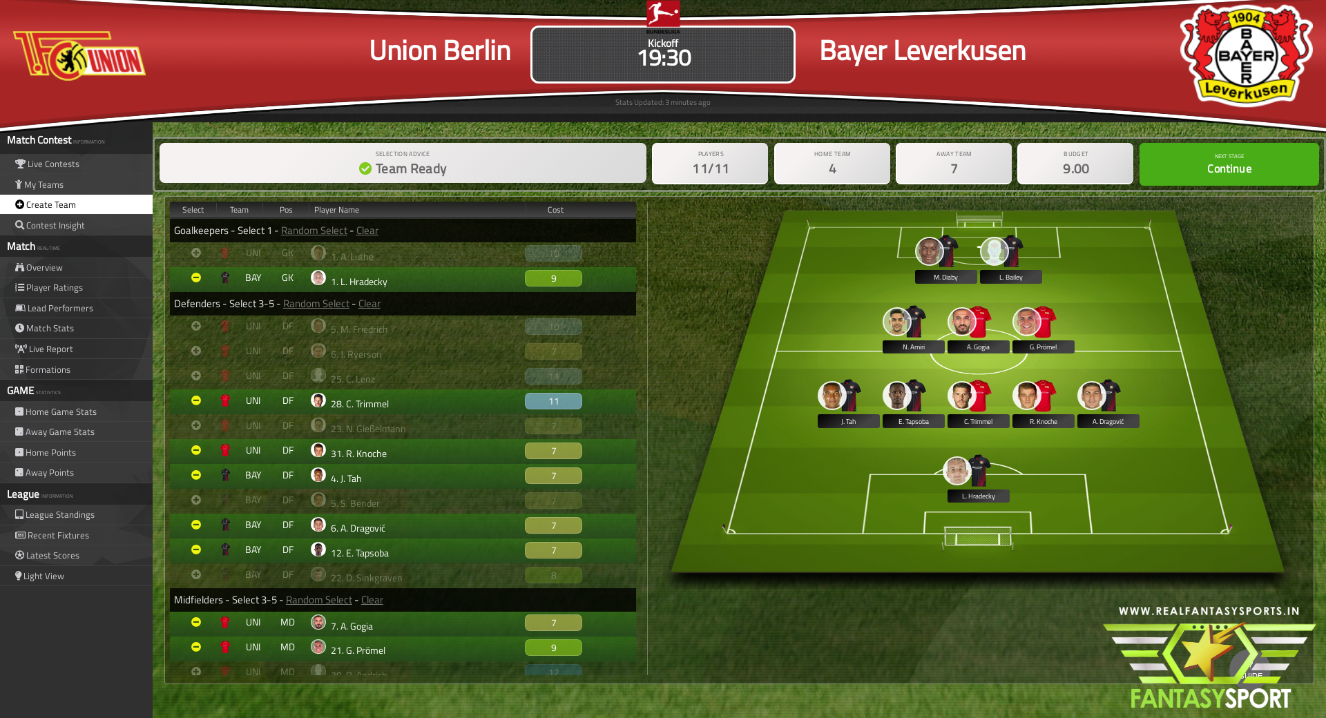 Fantasy Football Union Berlin Vs Bayer Leverkusen