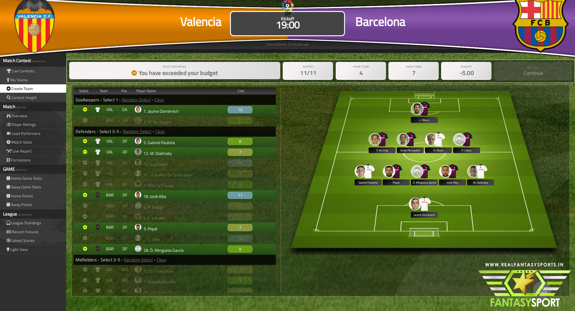 Fantasy Football Valencia Vs Barcelona