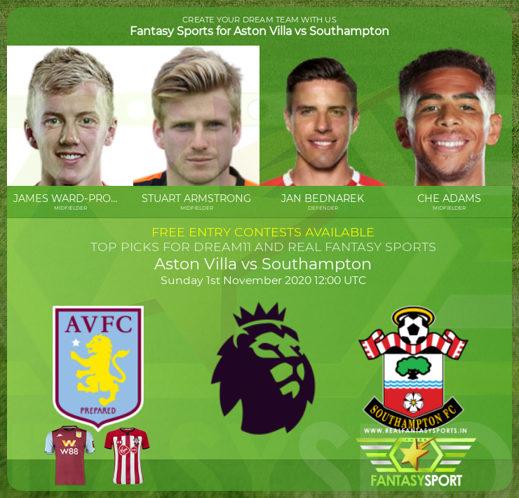 Aston Villa vs Southampton match prediction (1st November 2020)