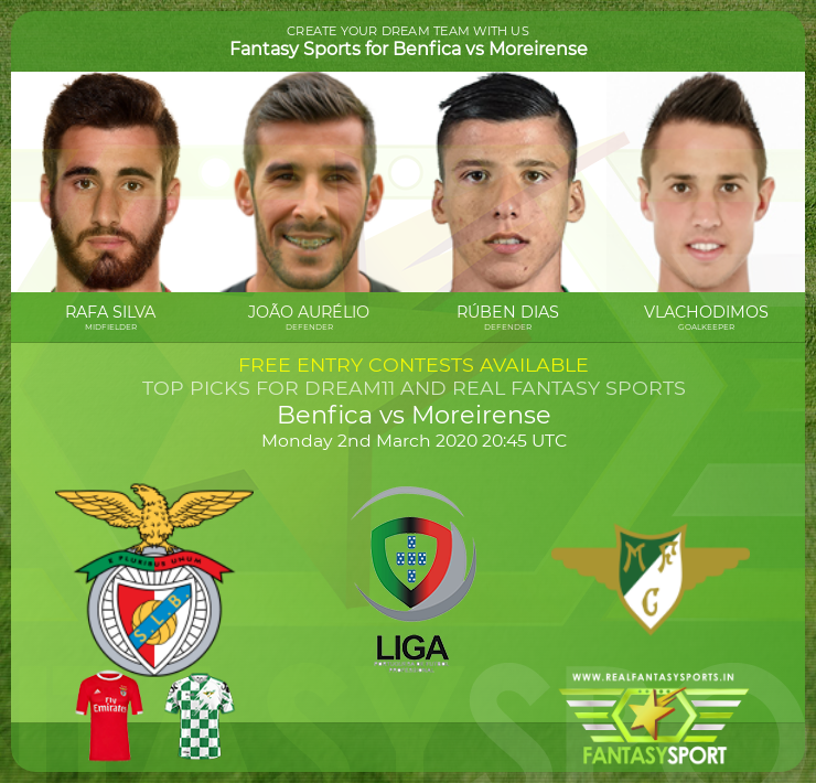 Benfica vs Moreirense match prediction (2nd March 2020)