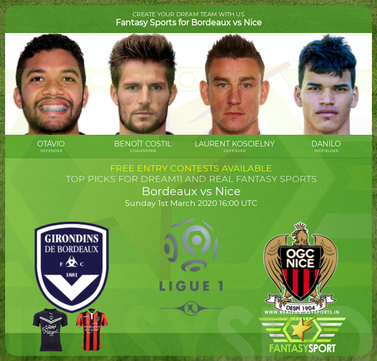 Bordeaux vs Nice match prediction (1st March 2020)