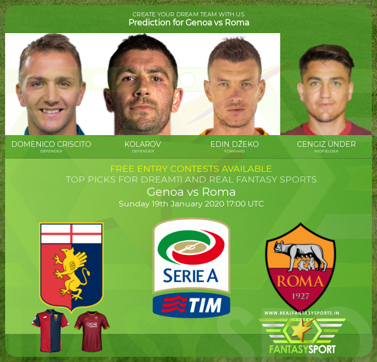 Genoa vs Roma prediction (19th January 2020)