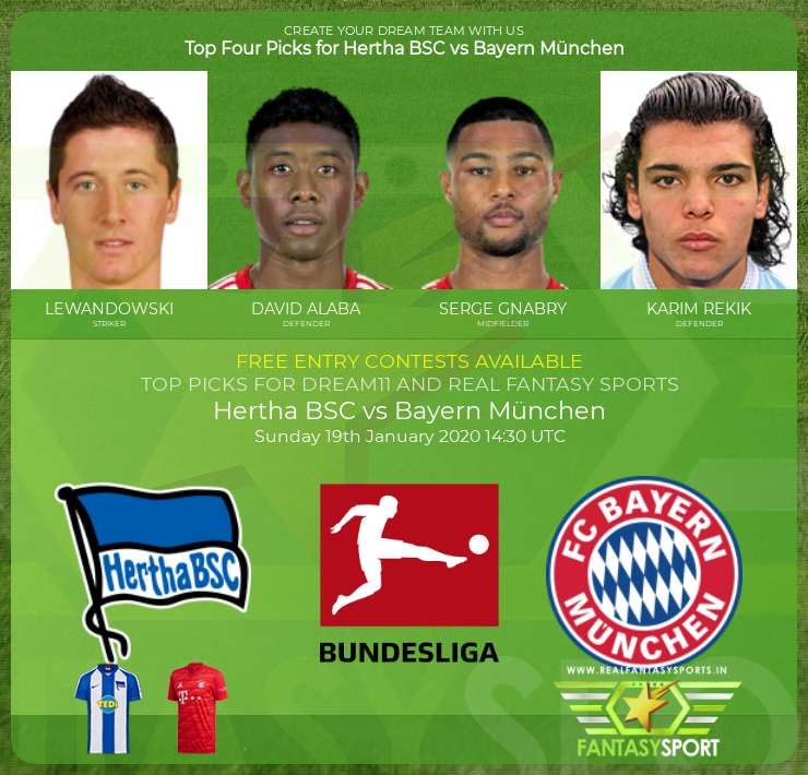 Hertha BSC vs Bayern München dream11 prediction (19th January 2020)
