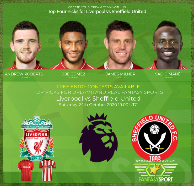 Liverpool vs Sheffield United dream11 team prediction (24th October 2020)