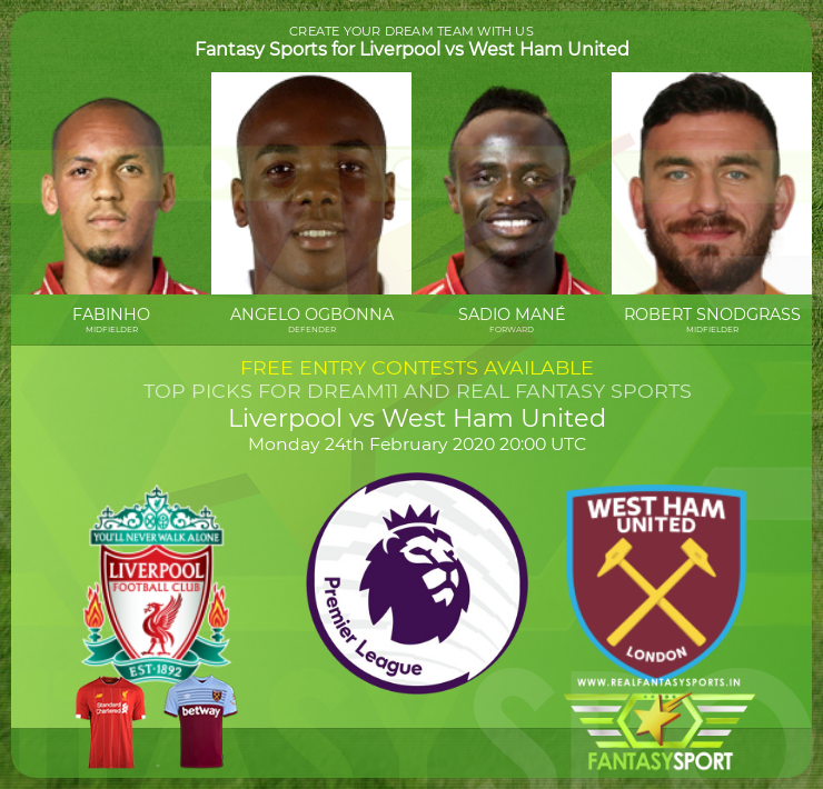 Liverpool vs West Ham United dream11 prediction (24th February 2020)