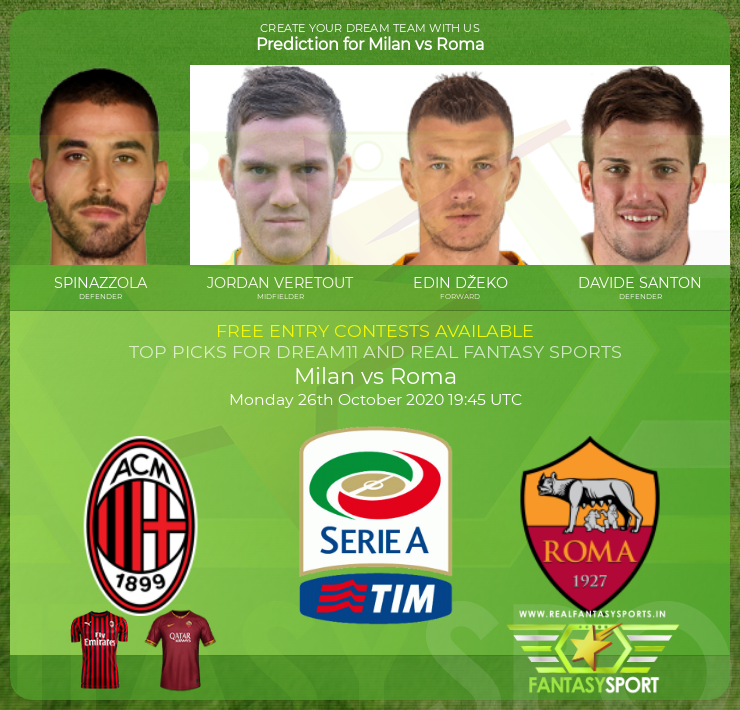 Milan vs Roma dream11 team prediction (26th October 2020)