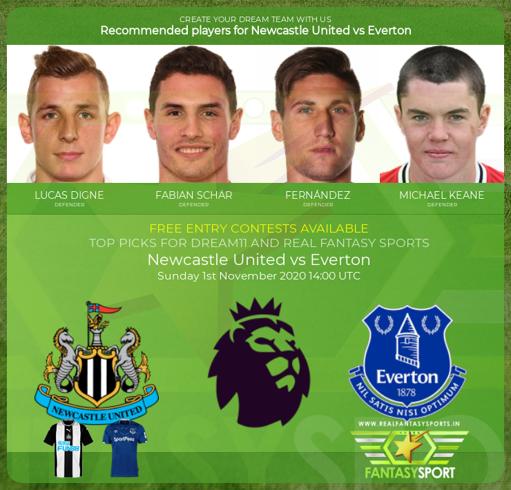 Newcastle United vs Everton dream11 team prediction (1st November 2020)