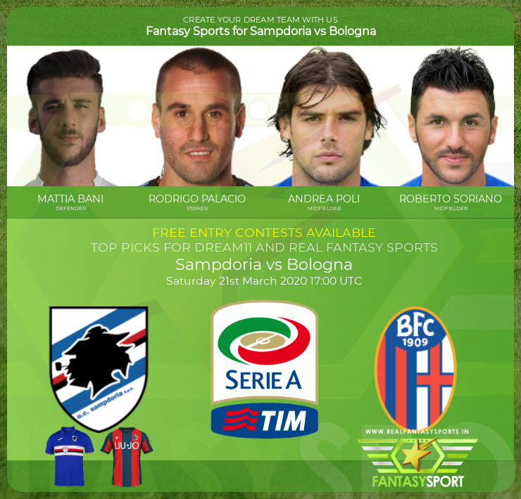 Sampdoria vs Bologna dream11 team prediction (21st March 2020)