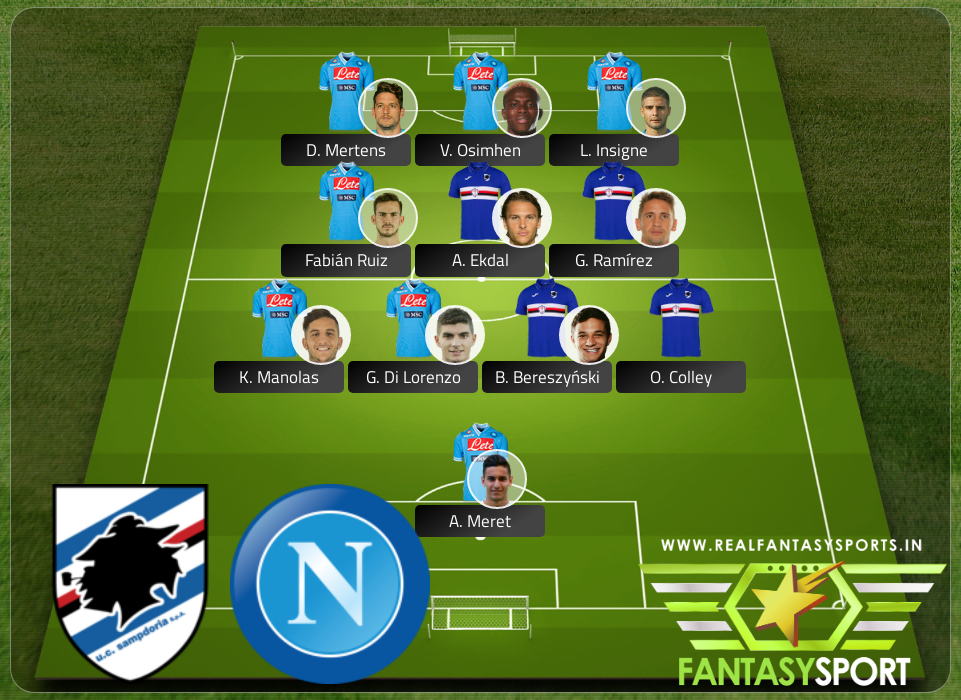 Fantasy Team Sampdoria Vs Napoli