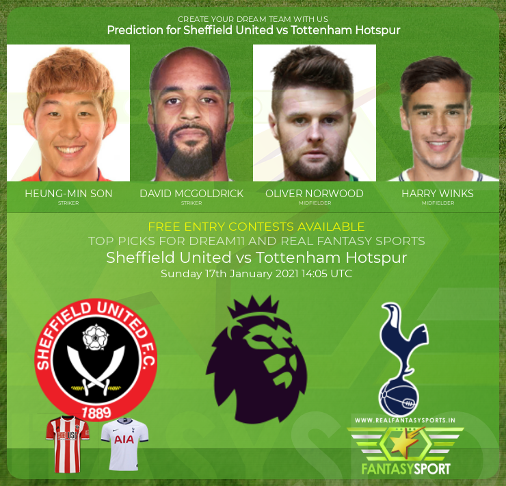 Sheffield United vs Tottenham Hotspur dream11 prediction (17th January 2021)