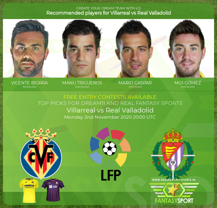 Villarreal vs Real Valladolid dream team prediction (2nd November 2020)