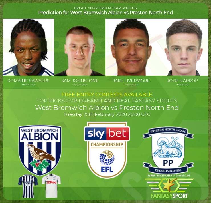 West Bromwich Albion vs Preston North End game prediction (25th February 2020)