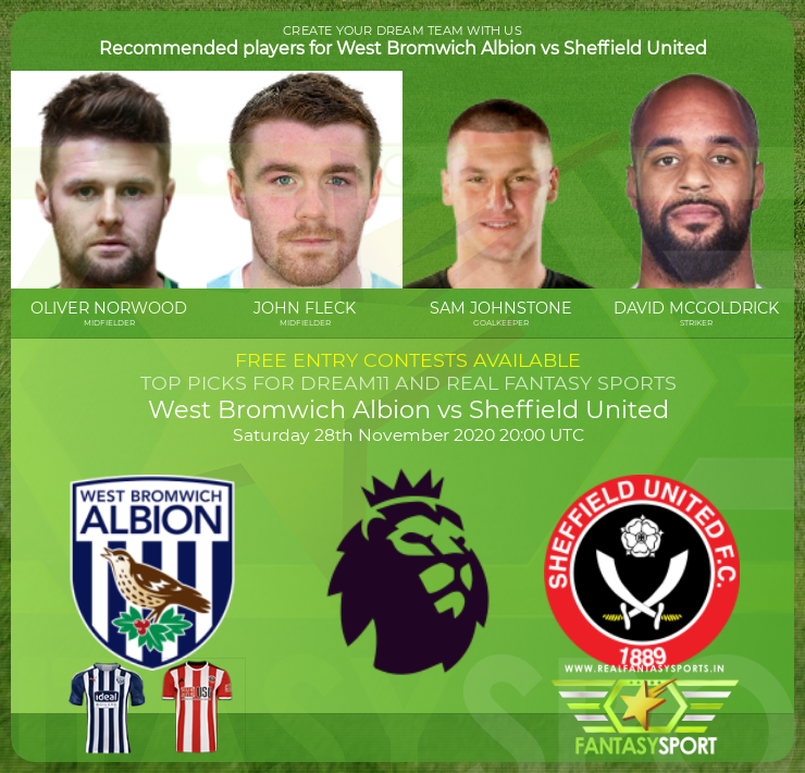Fantasy Team West Bromwich Albion Vs Sheffield United