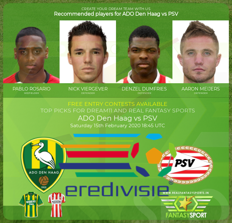 Football Fantasy Team Ado Den Haag Vs Psv