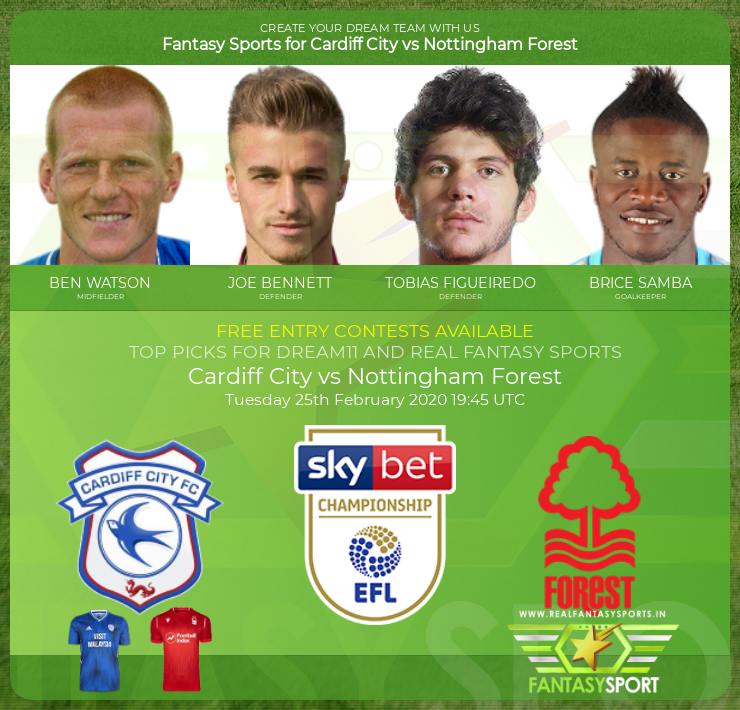 Cardiff City vs Nottingham Forest match prediction (25th February 2020)