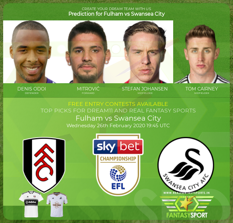 Fulham vs Swansea City football prediction (26th February 2020)