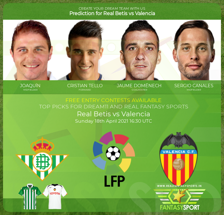Football Fantasy Team Real Betis Vs Valencia
